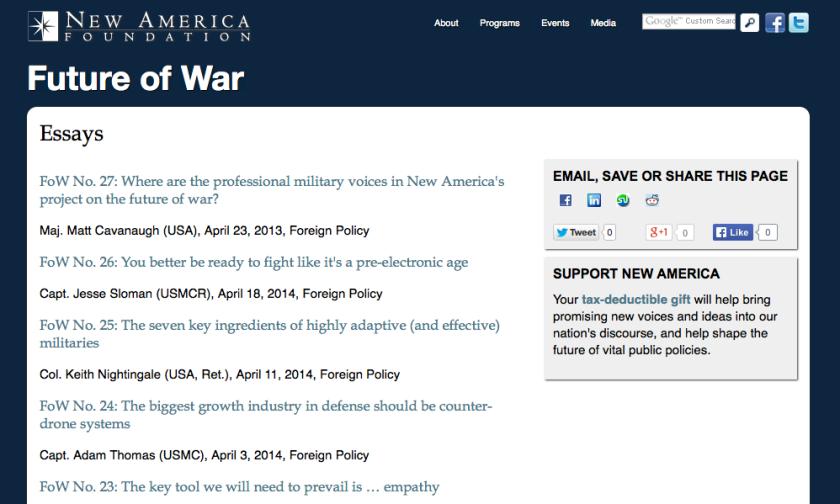 Link to Best Defense/New America essays.