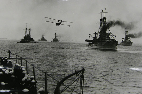 U.S. Navy ships moving to watch Billy Mitchell's Project B bombing demonstration. Image courtesy of U.S. National Archives.