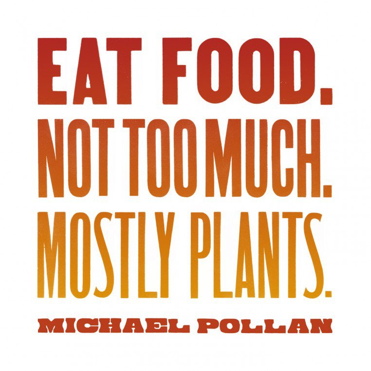 Image depicting Michael Pollan's seven word strategy for eating courtesy of Spillarena.