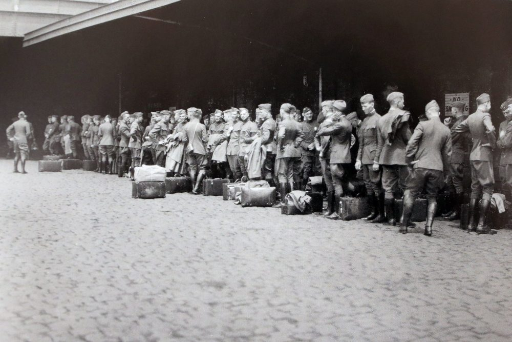 West Point cadets departing in June 1919 for summer study on European battlefields.