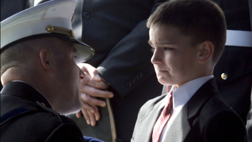 Image of 8-year-old Christian Golzcynski receiving his father's flag in 2007, courtesy of NBC News. Golczynski has gone on to found a successful charity to comfort children of the fallen.
