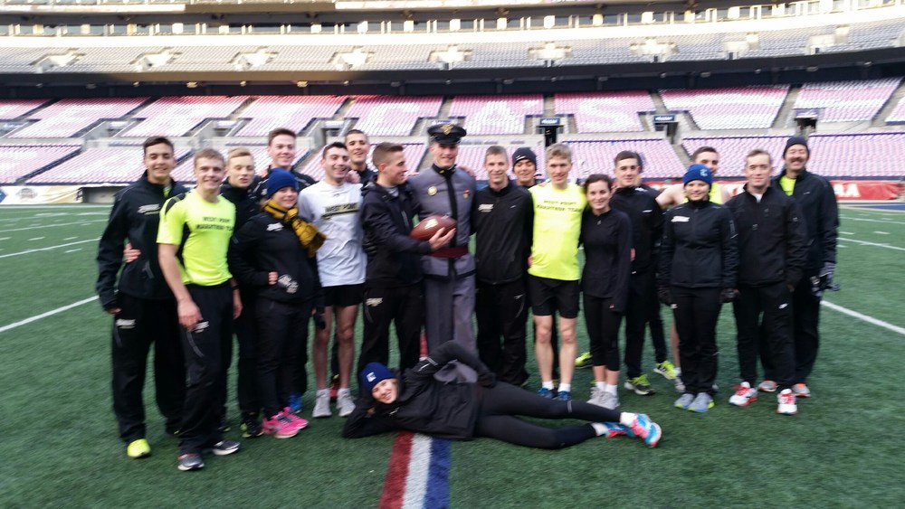 Photo of the arrival at the 50-yard line in Baltimore; image courtesy of the West Point Marathon Team.